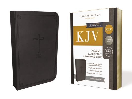 KJV, Reference Bible, Compact, Large Print, Imitation Leather, Black, Red Letter Edition