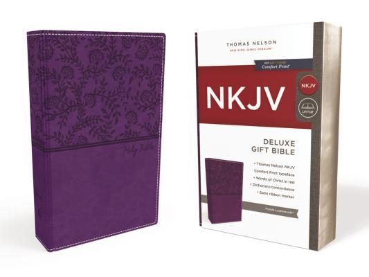 NKJV, Deluxe Gift Bible, Imitation Leather, Purple, Red Letter Edition