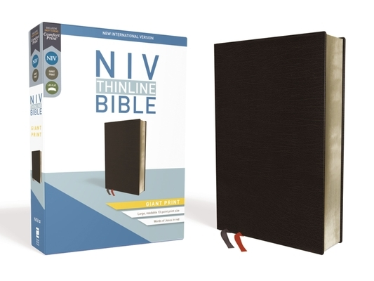 NIV, Thinline Bible, Giant Print, Bonded Leather, Black, Red Letter Edition