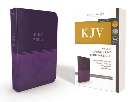 KJV, Thinline Bible, Large Print, Imitation Leather, Red Letter Edition