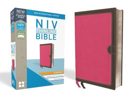 NIV, Thinline Bible, Compact, Imitation Leather, Pink/Brown, Red Letter Edition
