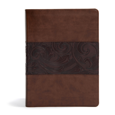 CSB Study Bible, Large Print Edition, Mahogany Leathertouch, Indexed