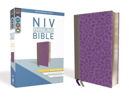 NIV, Thinline Bible, Giant Print, Imitation Leather, Gray/Purple, Red Letter Edition