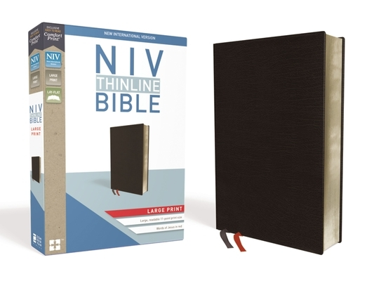 NIV, Thinline Bible, Large Print, Bonded Leather, Black, Red Letter Edition