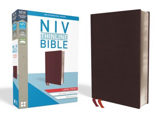 NIV, Thinline Bible, Large Print, Bonded Leather, Burgundy, Red Letter Edition