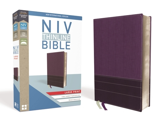 NIV, Thinline Bible, Large Print, Imitation Leather, Purple, Red Letter Edition