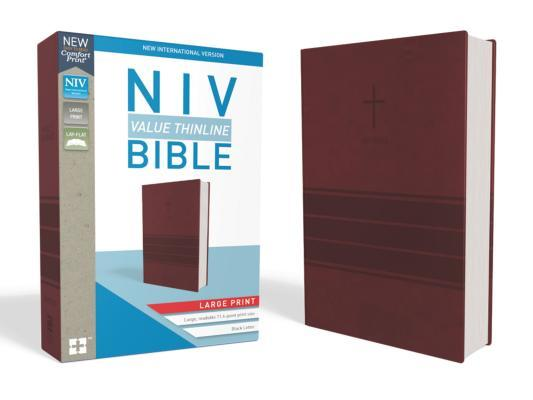 NIV, Value Thinline Bible, Large Print, Imitation Leather, Burgundy