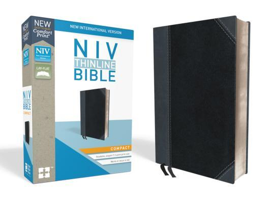 NIV, Thinline Bible, Compact, Imitation Leather, Black/Gray, Red Letter Edition