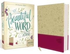 NIV, Beautiful Word Bible, Imitation Leather, Tan/Pink: 500 Full-Color Illu