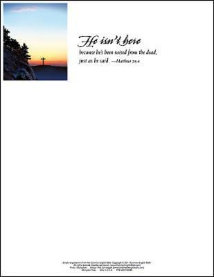 He Isn't Here Easter Sunrise Letterhead (Pkg of 50)