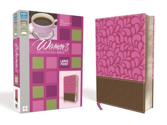 NIV, Women's Devotional Bible, Large Print, Imitation Leather, Brown/Pink