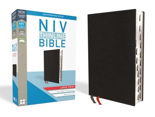 NIV, Thinline Bible, Large Print, Bonded Leather, Black, Indexed, Red Letter Edition