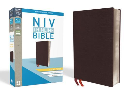NIV, Thinline Bible, Giant Print, Bonded Leather, Burgundy, Indexed, Red Letter Edition