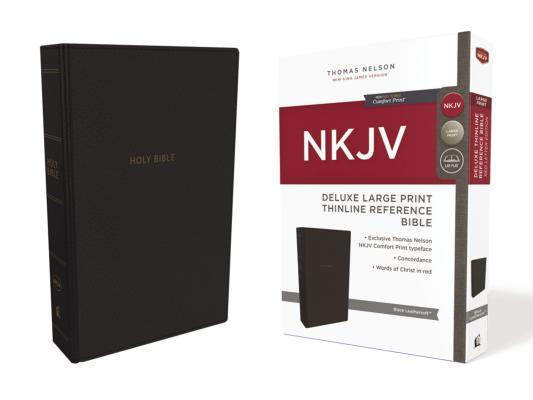 NKJV, Deluxe Thinline Reference Bible, Large Print, Imitation Leather, Black, Red Letter Edition, Comfort Print