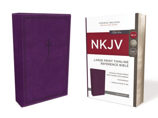 NKJV, Thinline Reference Bible, Large Print, Imitation Leather, Purple, Red Letter Edition, Comfort Print