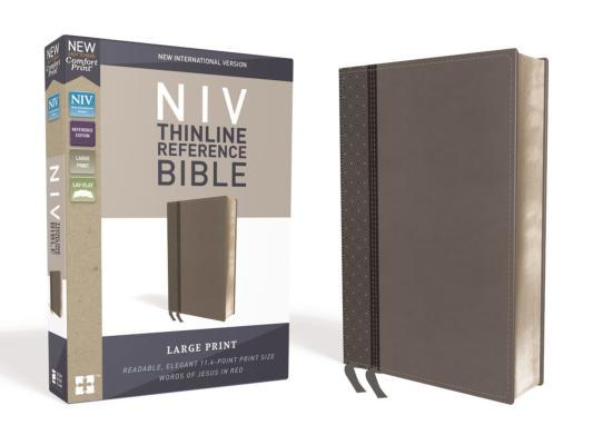 NIV, Thinline Reference Bible, Large Print, Imitation Leather, Gray, Red Letter Edition, Comfort Print