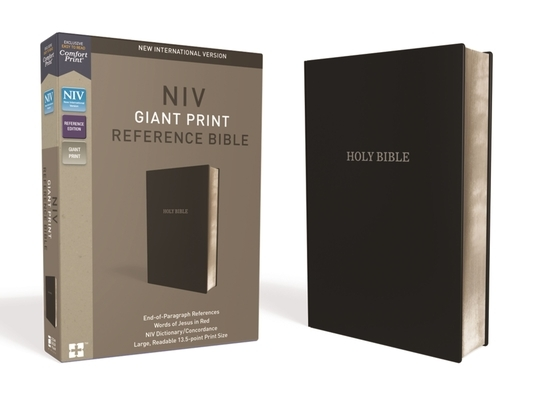 NIV, Reference Bible, Giant Print, Leather-Look, Black, Red Letter Edition, Comfort Print