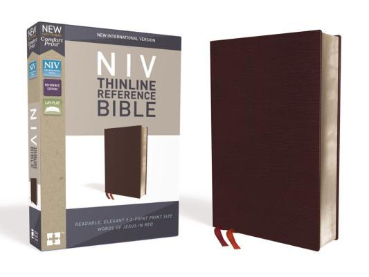 NIV, Thinline Reference Bible, Bonded Leather, Burgundy, Red Letter Edition, Comfort Print