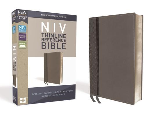 NIV, Thinline Reference Bible, Imitation Leather, Gray, Red Letter Edition, Comfort Print