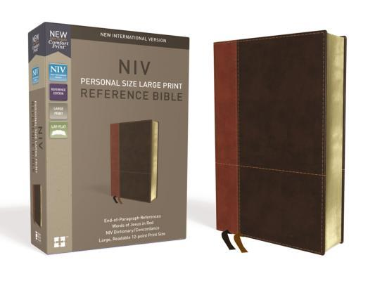 NIV, Personal Size Reference Bible, Large Print, Imitation Leather, Brown, Red Letter Edition, Comfort Print