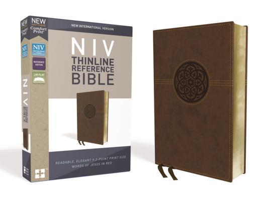 NIV, Thinline Reference Bible, Imitation Leather, Brown, Red Letter Edition, Comfort Print