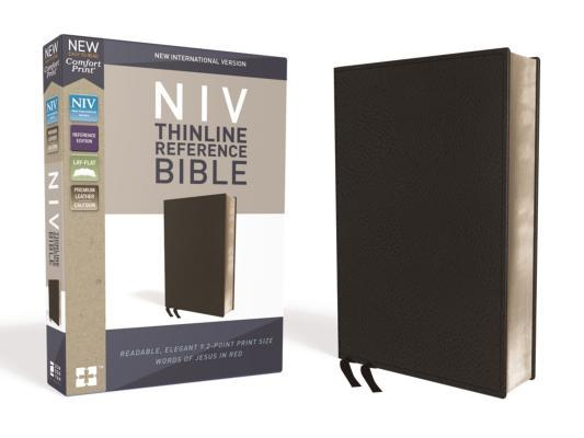 NIV, Thinline Reference Bible, Premium Bonded Leather, Black, Red Letter Edition, Comfort Print