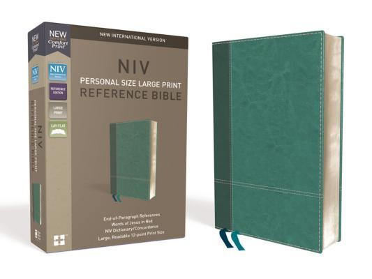 NIV, Personal Size Reference Bible, Large Print, Imitation Leather, Blue, Red Letter Edition, Comfort Print