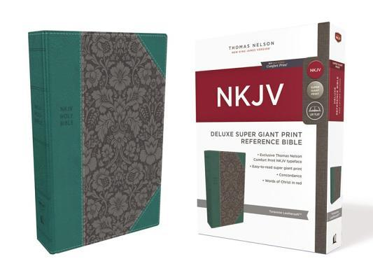 NKJV, Deluxe Reference Bible, Super Giant Print, Imitation Leather, Blue, Red Letter Edition, Comfort Print