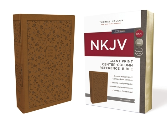 NKJV, Reference Bible, Center-Column Giant Print, Imitation Leather, Tan, Red Letter Edition, Comfort Print
