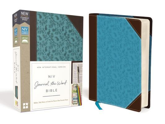 NIV, Journal the Word Bible, Imitation Leather, Brown/Blue, Red Letter Edition, Comfort Print