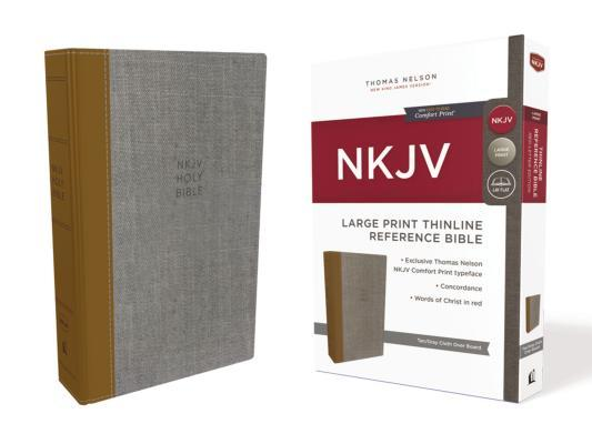 NKJV, Thinline Reference Bible, Large Print, Cloth Over Board, Tan/Gray, Red Letter Edition, Comfort Print
