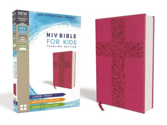 NIV Bible for Kids, Large Print, Leathersoft, Pink, Red Letter Edition, Comfort Print