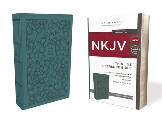 NKJV, Thinline Reference Bible, Imitation Leather, Turquoise, Red Letter Edition, Comfort Print