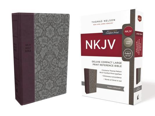 NKJV, Deluxe Reference Bible, Compact Large Print, Imitation Leather, Purple, Red Letter Edition, Comfort Print