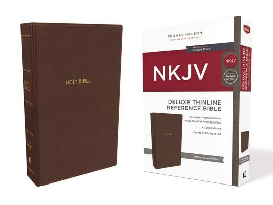 NKJV, Deluxe Thinline Reference Bible, Imitation Leather, Brown, Red Letter Edition, Comfort Print