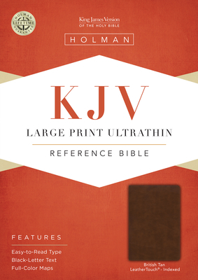 KJV Large Print Ultrathin Reference Bible, British Tan Leathertouch, Indexed, Black Letter Edition