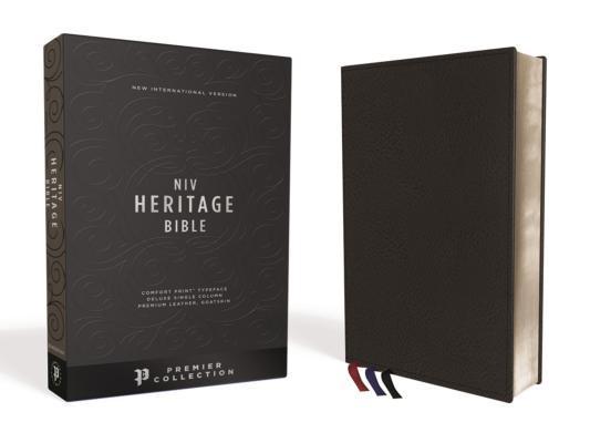 NIV, Heritage Bible, Deluxe Single-Column, Premium Leather, Black, Sterling Edition, Comfort Print