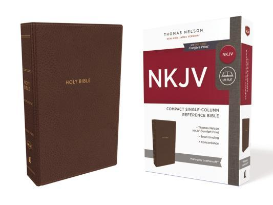 NKJV, Compact Single-Column Reference Bible, Imitation Leather, Brown, Red Letter Edition, Comfort Print