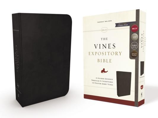 NKJV, the Vines Expository Bible, Genuine Leather, Black, Red Letter Edition