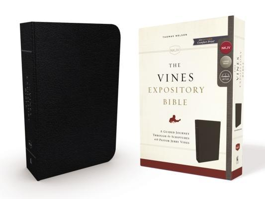 NKJV, the Vines Expository Bible, Bonded Leather, Black, Red Letter Edition