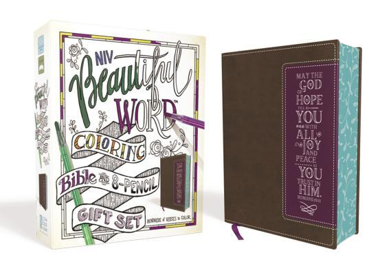 Niv, Beautiful Word Coloring Bible and 8-Pencil Gift Set, Leathersoft, Brown