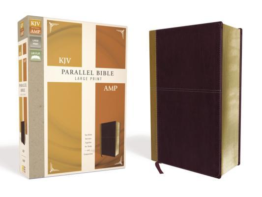 KJV, Amplified, Parallel Bible, Large Print, Leathersoft, Tan/Burgundy, Red Letter Edition