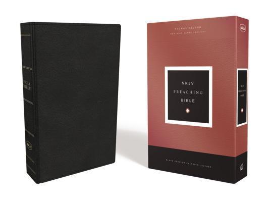 NKJV, Preaching Bible, Premium Calfskin Leather, Black, Comfort Print
