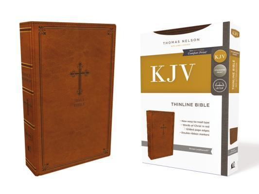 Kjv, Thinline Bible, Leathersoft, Brown, Red Letter Edition, Comfort Print
