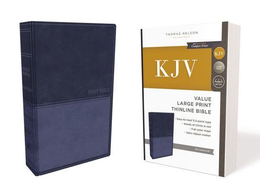 Kjv, Value Thinline Bible, Large Print, Leathersoft, Blue, Red Letter Edition, Comfort Print