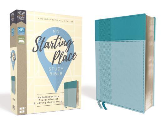 Niv, Starting Place Study Bible, Leathersoft, Blue, Comfort Print
