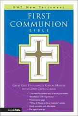 FIRST COMMUNION WHITE BIBLE GNT NT WITH GOLD CROSS CHARM