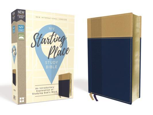 Niv, Starting Place Study Bible, Leathersoft, Blue/Tan, Comfort Print