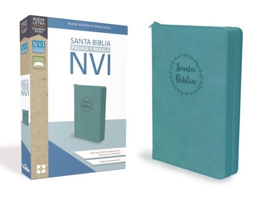 Santa Biblia de Premio Y Regalo Nvi, Leathersoft, Aqua Con Cremallera