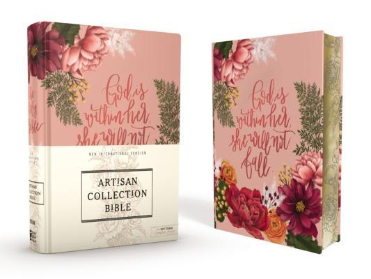 Niv, Artisan Collection Bible, Cloth Over Board, Pink Floral, Designed Edges Under Gilding, Red Letter Edition, Comfort Print